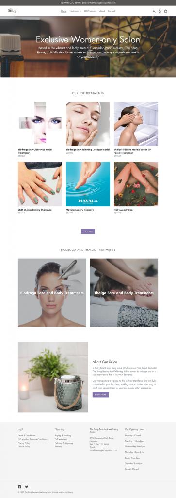 The Snug Beauty Salon, Leicester - new website screenshot