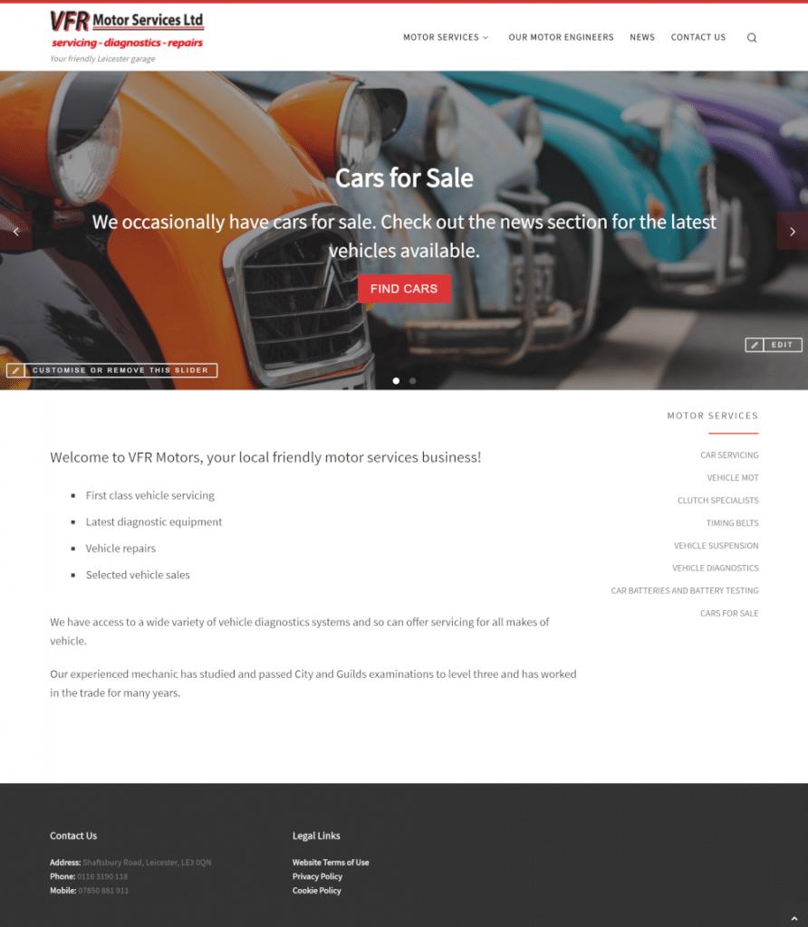 VFR Motor Services Ltd - new homepage